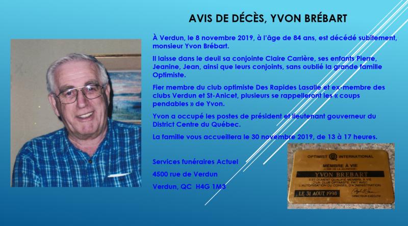Avis de décès de M Yvon Brébart